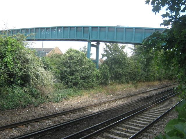 Footbridge over railway and A2016 Bronze Age Way