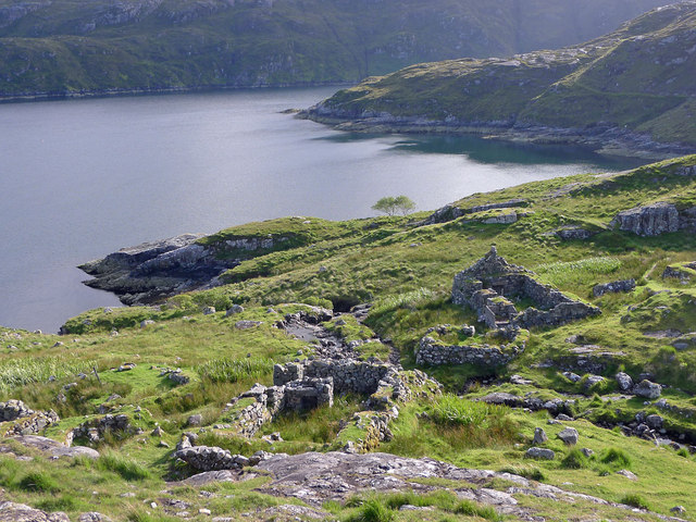 The ruined village of Gearraidh Lotaigear on the Rhenigidale to Tarbert footpath