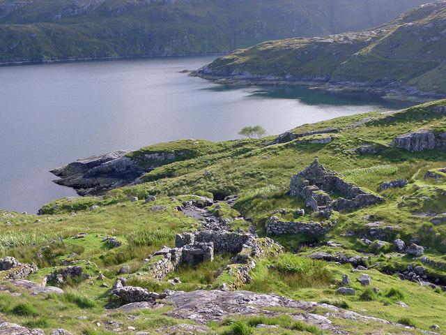 The ruined village of Gearraidh Lotaigear on the Rhenigidale to Tarbert footpath