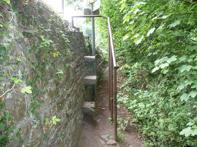 Stone step stile and handrail in Llangenny