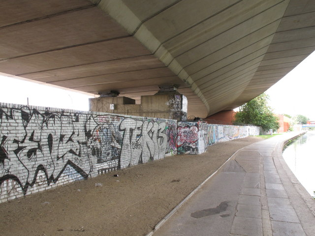 Westway overpass from below by canal