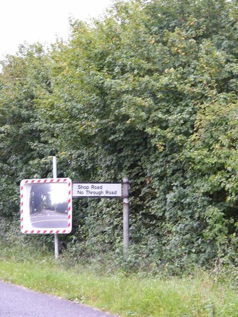 Shop Road sign