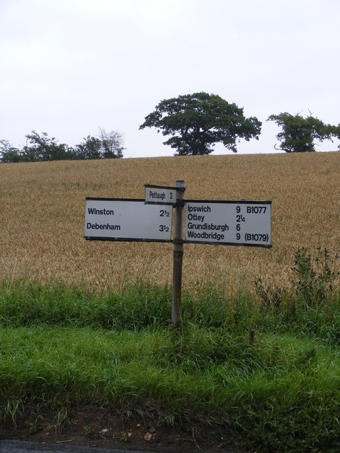 Roadsign on the B1077