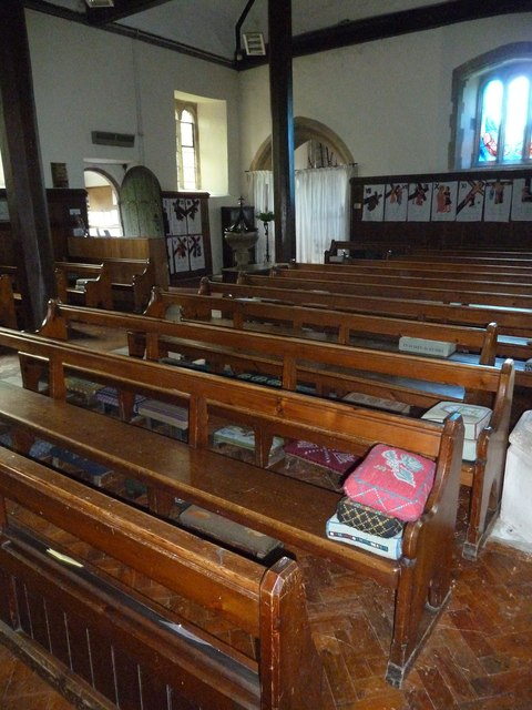 All Saints, Upper Clatford: kneelers and pews