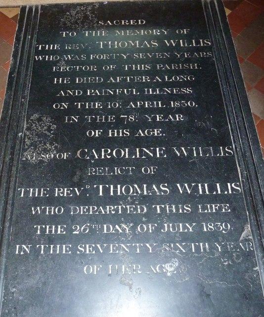 All Saints, Upper Clatford: floor memorial