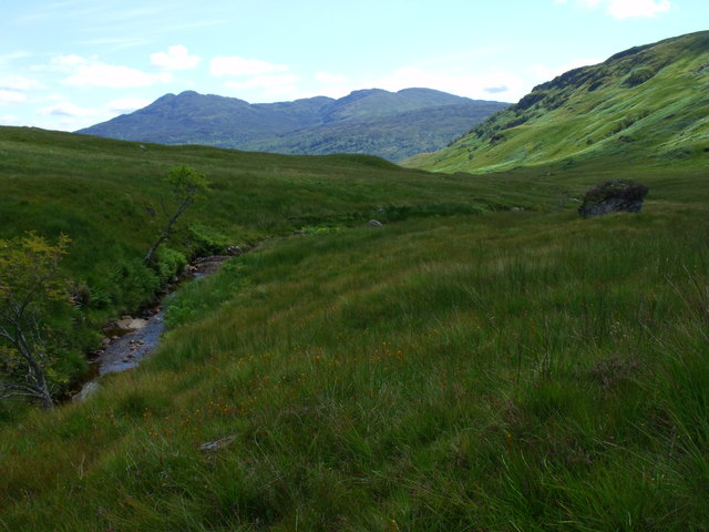 Looking downstream by the main branch of the upper Strone near Loch Katrine