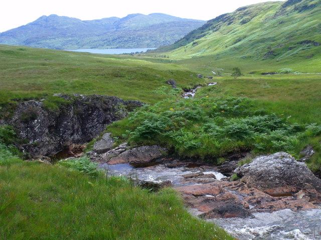 Fall in the main branch of the upper Strone Burn near Loch Katrine
