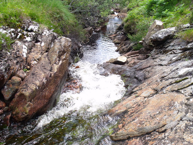 Looking down a waterfall in the main branch of the upper Strone Burn