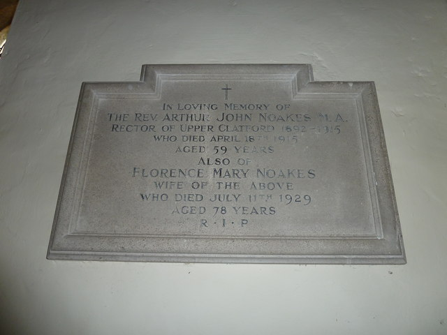 All Saints, Upper Clatford: memorial to a former incumbent