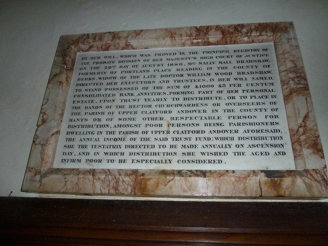 All Saints, Upper Clatford: benefaction