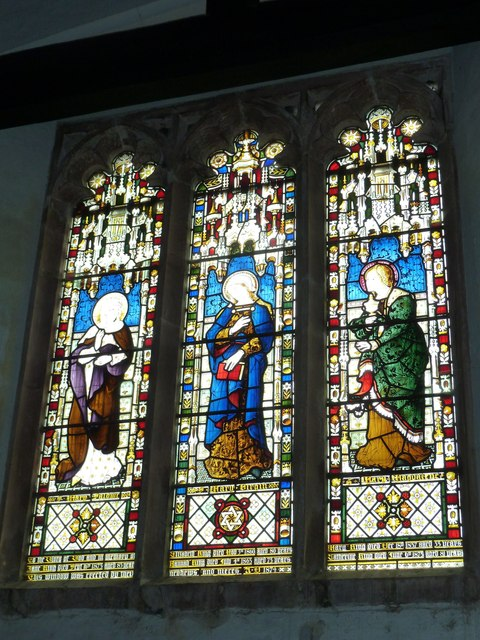 St Nicholas, Leckford: stained glass window above the altar