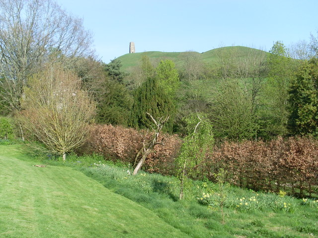 View of Glastonbury Tor from the Chalice Well Garden