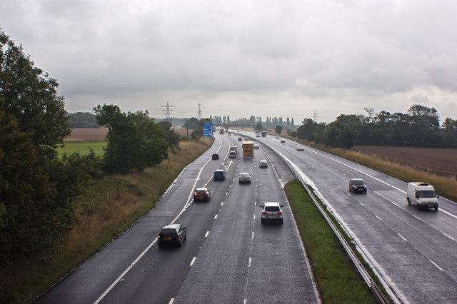The M62 Eastbound taken from Hall Lane bridge