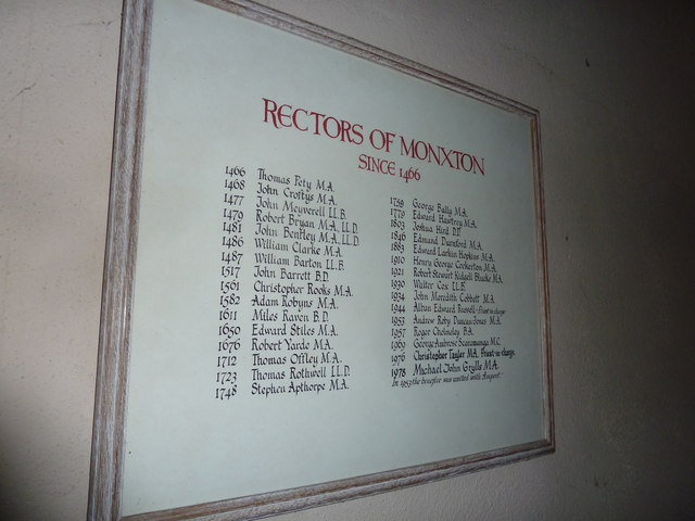 Monxton - St Mary: incumbency board