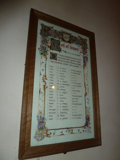 Monxton - St Mary: Roll of Honour