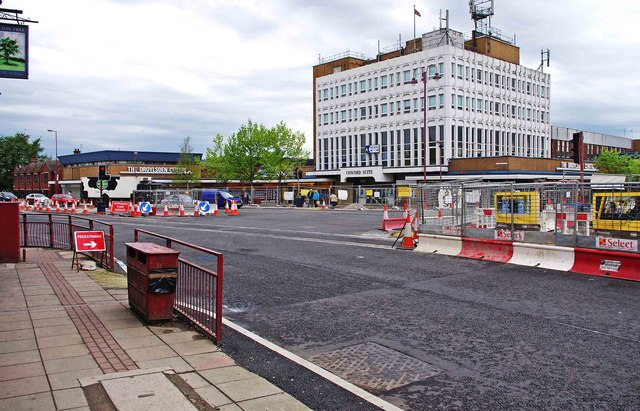 Manchester Metrolink tramway construction on the A662 road at Droylsden