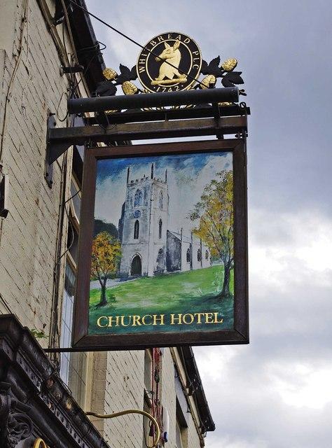 Church Hotel (2) - sign, 16 Ashton Road, Droylsden