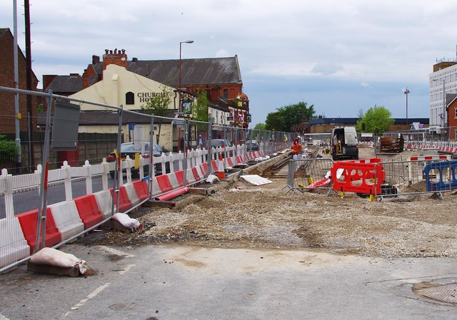 Manchester Metrolink - track laying on Ashton Road (A662), Droylsden