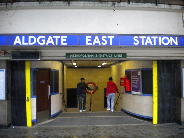 Entrance to Aldgate East Underground Station