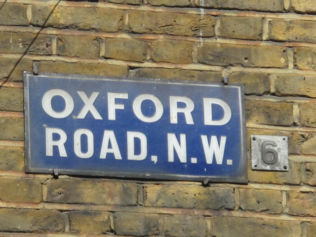 Old sign for Oxford Road, NW6