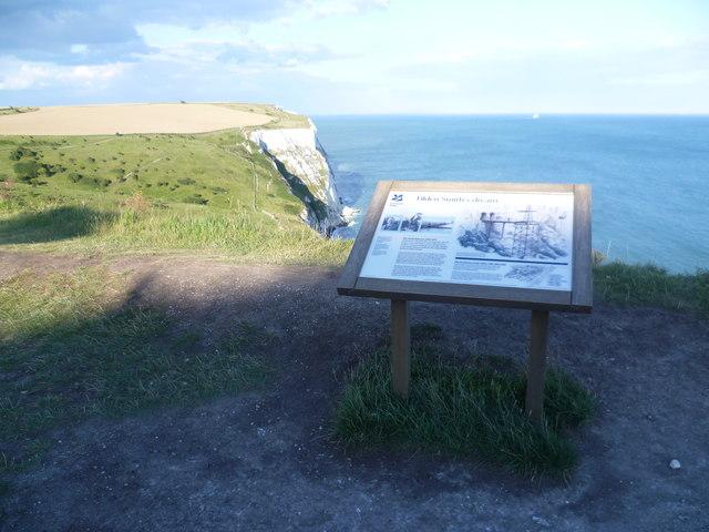 Information board at Langdon Hole