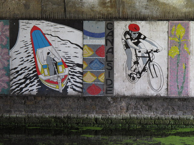 Mural under canal bridge - boat, cyclist