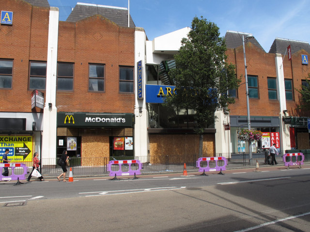 Arcadia Centre boarded up after riots