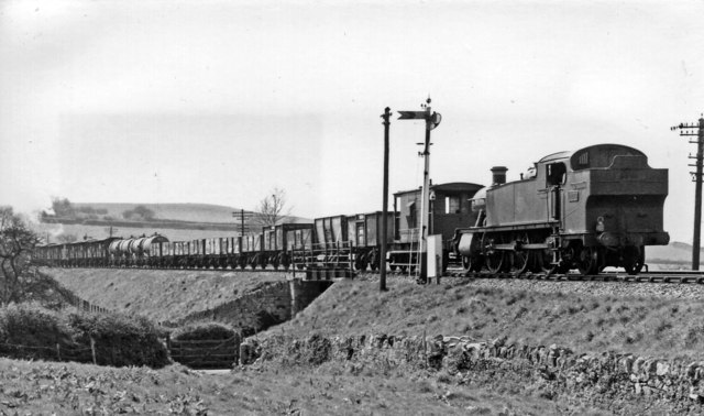 GW 2-6-2T banking a Down freight to Dainton Summit
