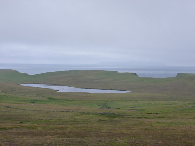 Dale of Walls: Loch of Goster and view of Foula