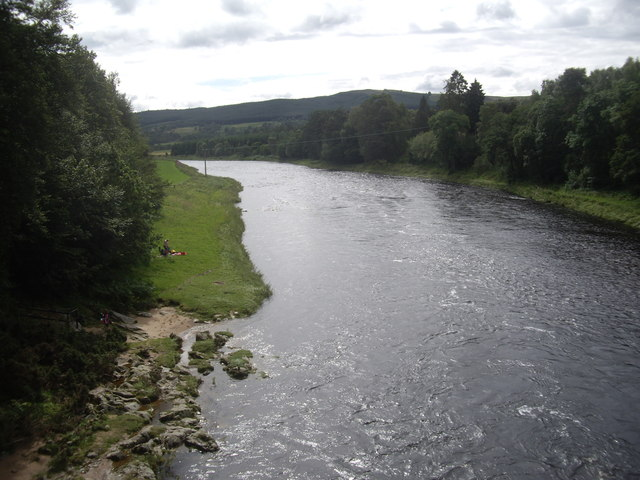 Looking downstream River Dee from Bridge of Potarch