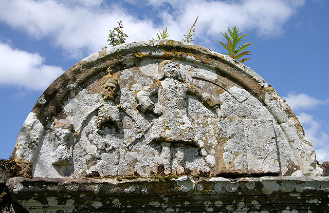 A gravestone detail at Roberton