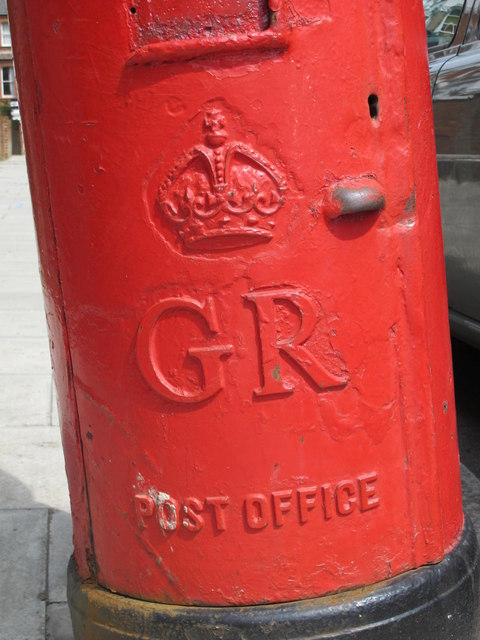 George V postbox, Mazenod Avenue, NW6 - royal cipher