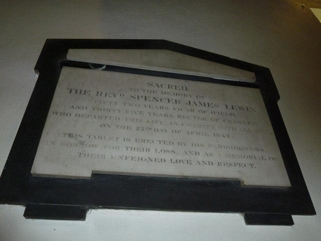 St. John the Baptist, Crawley: memorial (d)