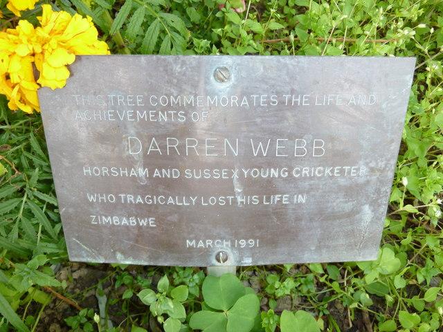 Memorial plaque within Horsham Cricket Club