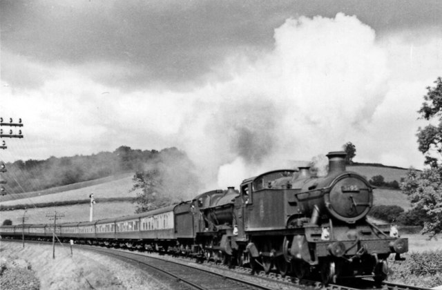 Down express ascending Dainton Bank, with front-end assistance