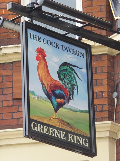 Sign for The Cock Tavern, Kilburn High Road, NW6