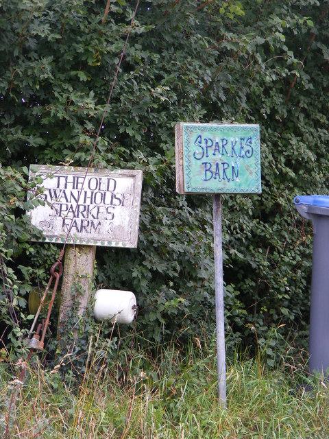 Sparks Barn, Sparks Farm & Old Swan House signs