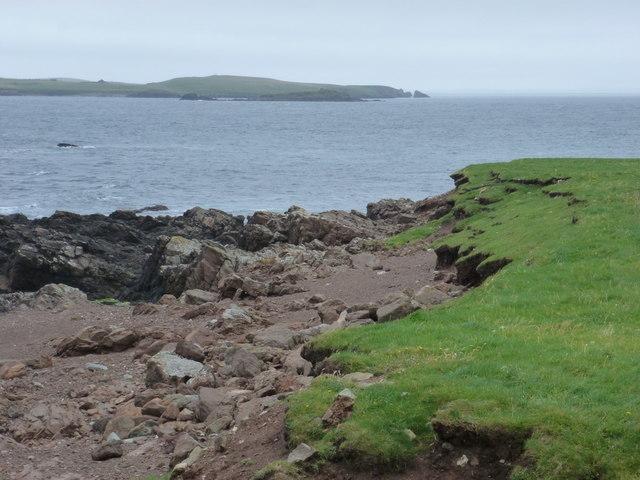 Sandness: coastal erosion at Melby