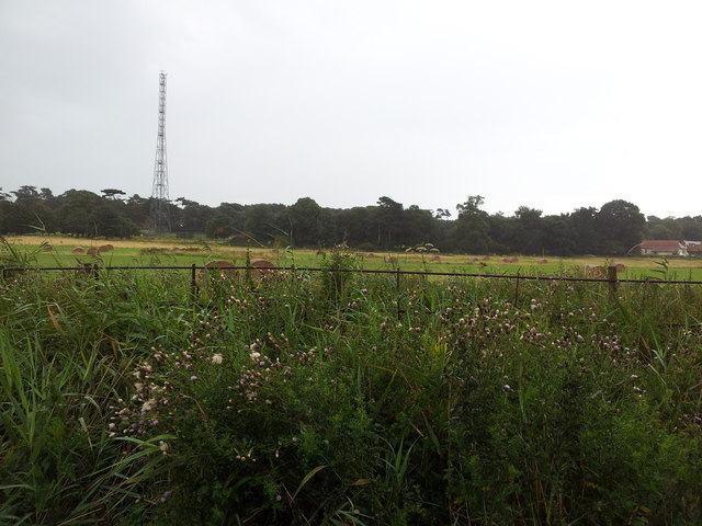 Fields and radio transmitter near Bawdsey