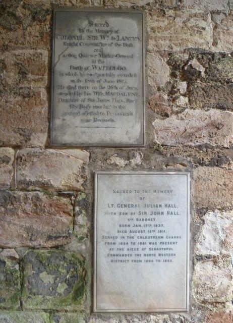 Hall burial aisle, Dunglass Church