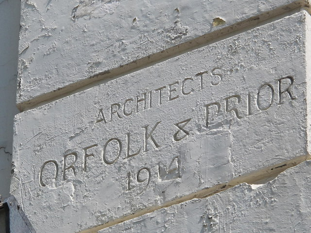 Architects' stone on the former Grange Cinema, Kilburn High Road, NW6