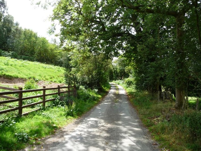 Lane running past Rock Farm