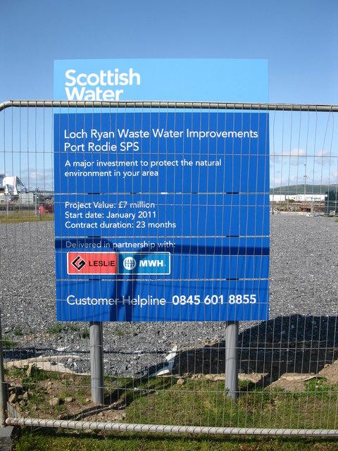 Scottish Water sign, Port Rodie
