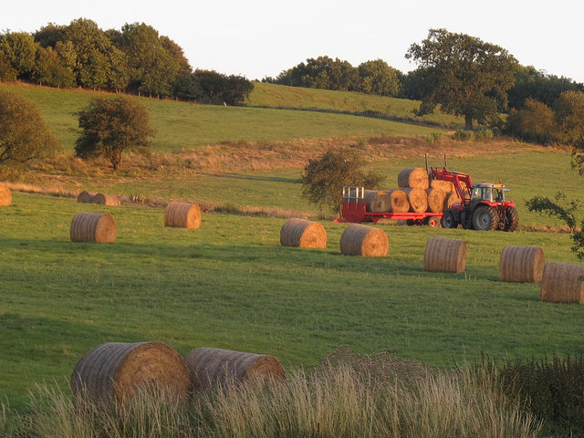 Abbey Farm - hay bales being collected
