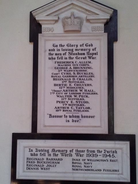 War memorial in Stonham Aspal Church