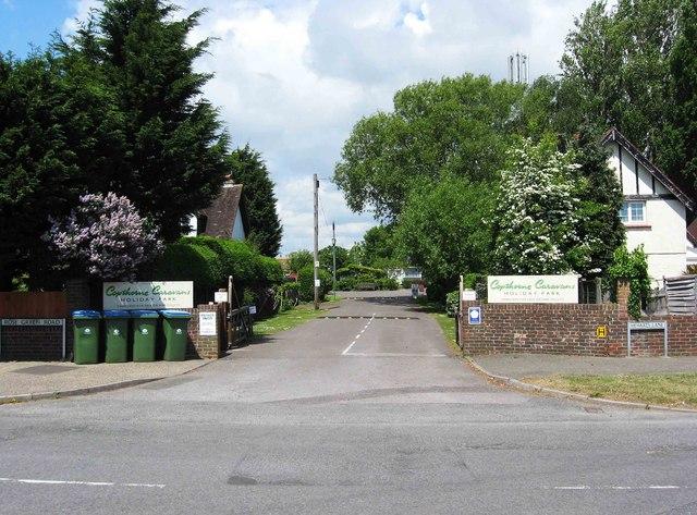 Entrance to Copthorne Caravans Holiday Park, Hewarts Lane, Rose Green