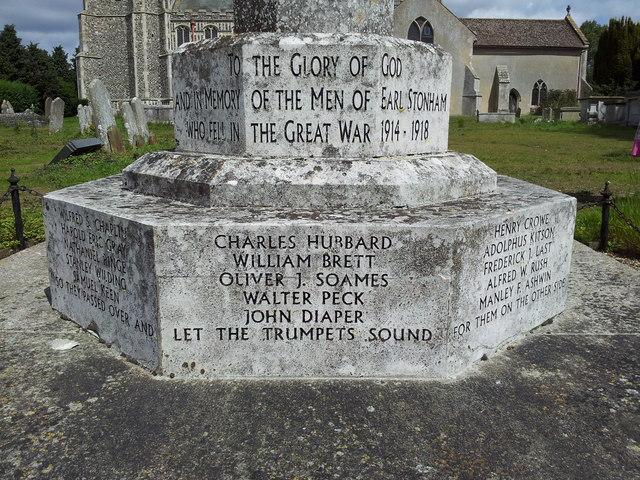 Close-up of Earl Stonham War Memorial