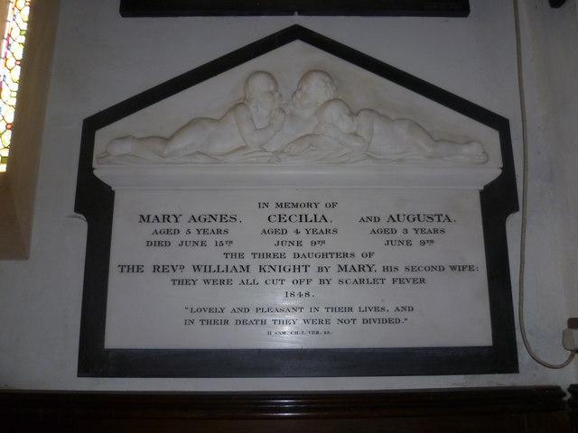 Memorial in St Nicholas Church, Steventon