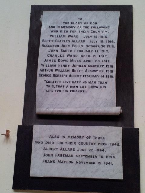 War memorial in Stonham Parva Church