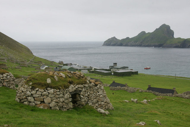 Cleits above the street, Village Bay, St Kilda